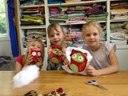 show what they made at the school holiday workshop at Frolic in Fabric
